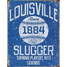 Louisville Slugger Blue Baseball Distressed Retro Vintage Decor Metal Tin Sign