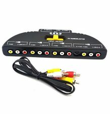 4-Way RCA Audio Video Selector Switcher Switch Box A/V Multi input/output 4 XBOX