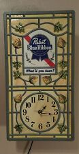VINTAGE PABST BLUE RIBBON BEER PBR LIGHTED ELECTRIC WALL CLOCK Bar Sign