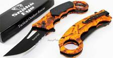 SNAKE EYE Red/Orange Camo Karambit Speed Spring Assisted Linerlock Knife NEW O