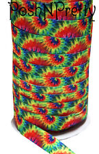 Designer 3 Yards 5/8 Print Fold Over Elastic Stretch FOE - Rainbow Tie Dye