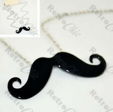 KITSCH mustache CURLY MOUSTACHE pendant NECKLACE silver/black QUIRKY retro tache