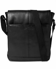 $540 Perry Ellis Mens BLACK MINI MESSENGER LEATHER WORK SCHOOL BRIEFCASE BAG
