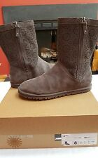 UGG AUSTRALIA LEATHER SUEDE REAL LEMB FUR WOMENS BOOTS CHARCOAL GRAY ZIPPERED 8