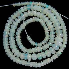 """STUNNING NATURAL ETHIOPIAN WELO FIRE OPAL SMOOTH RONDELLE BEADS 16"""", 42.00 CTS"""