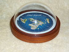 Flat Earth Map Dome Display Model - walnut wood base, plastic globe - flat world