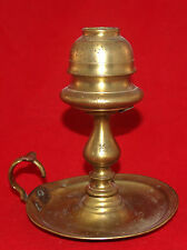 ANTIQUE BRASS WHALE OIL CHAMBER LAMP CHAMBERSTICK EARLY AMERICAN BALUSTER
