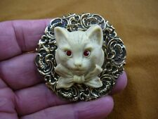 (CL52-108) KITTY red eyed Hell cat kitten large ivory CAMEO Pin Pendant brooch