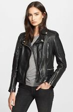 Burberry Brit Mossfield Womens Leather Biker Jacket UK Size 8