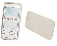 SILICONE TPU per cellulare Cover Case Guscio in Acquamarina + PROTEGGI SCHERMO per HTC One V