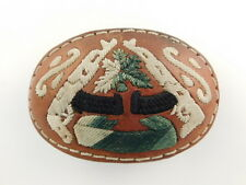 LEATHER EMBROIDERED HORSE HAIR BELT BUCKLE GUN THEME ARTISAN HANDCRAFTED