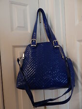 Big Buddha Royal Blue Quilted Patent Hobo Shoulder Bag