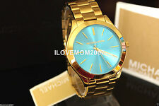 NEW Michael Kors Women's Slim Runway Gold-Tone Stainless Steel Bracelet Watch