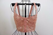 FOREVER 21 Sheer Lace Bra Bralette Sz S Small Nude Salmon Beige Lingerie Sexy