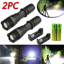 2 x8000LM Rechargeable Zoomable T6 LED Flashlight Torch+18650 Battery&Charger US