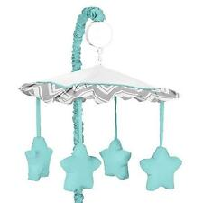NEW Sweet Jojo Design Chevron Zig Zag Musical Baby Crib Mobile in Turquoise/Grey