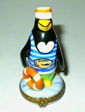 LIMOGES BOX- WHIMSICAL PENGUIN LIFEGUARD & LIFE PRESERVER - BEACH & OCEAN & SAND