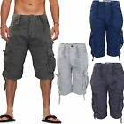 Mens Crosshatch Twill Cargo Combat Shorts Cotton Long Military Utility 3/4 Pants