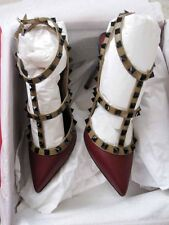 Valentino AUTH NIB 100MM Rockstud 37 Muted Blue Dark Red Brown Slingback Pumps