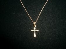 14K solid gold religious cross pendant necklace jewelry 14K rope chain 16 inch