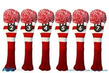 Hybrid golf club headcover 6 PC VINTAGE RED WHITE 2 3 4 5 6 7 KNIT Head cover