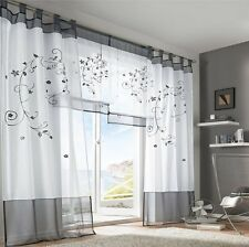 1 pair Sheer Voile Window Curtains gray 2*140*245cm Embroidered