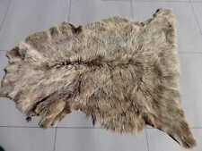 Italian sheepskin leather hide Cream Tipped Dark Brown Toscana long thick hair