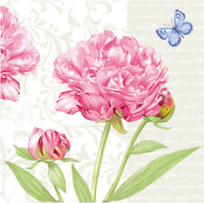 "Paper Luncheon Napkins 2 x 20pcs 13""x13"" Garden Pink Peony with a Blue Butterfly"