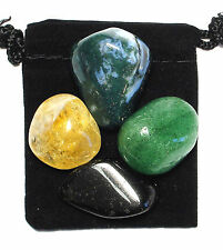 ABUNDANCE & PROSPERITY Tumbled Crystal Healing Set = 4 Stones + Pouch + Card