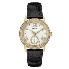 NEW GUESS WATCH Women * Sparkling Gold Tone Case * Black Leather Strap U0642L2
