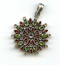 Large Sterling Silver Pendant set with Garnets and Peridots 29gr 60x45mm 21519A