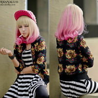 Bleach blonde+Pink Long new woman fashion full curly wavy sexy cosplay wig