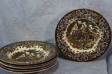 "Royal Tudor Ware 17 Century England 6 Rim Rimmed Soup Bowls 9"" Lot of 6 Bowls"