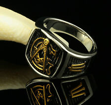 Men's Ring Seal Ring Real 750 18 kt gold-plated silver gold R2349