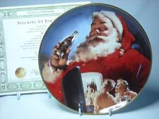 Franklin Mint Coca-Cola STOCKING UP FOR SANTA Christmas Holiday Plate +COA Claus