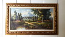 Dipinto Olio su Tela con Cornice - 105x175 cm - Paesaggio di Campagna - Quadro