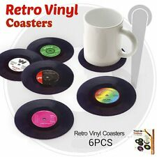 6PCS CD Coasters album slip Vinyl Cup mat Record Table Bar Drinks Mats Set