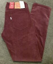 NWT MENS LEVIS 511 SLIM FIT PREMIUM CORDUROY PANTS 511-1874 BURGUNDY NEW 32x30