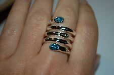 TRENDY NEW JOHN HARDY $450 SILVER MULTI ROW WRAP RING BLUE TOPAZ SZ 7,POUCH