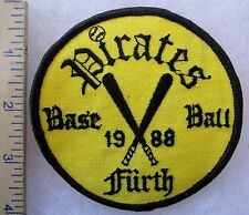 1988 FURTH GERMANY BASEBALL PIRATES - Vintage U.S. MILITARY SPORT TEAM PATCH