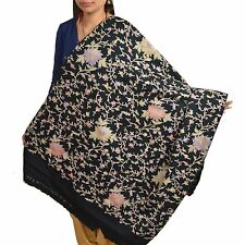 Sanskriti Vintage Multi Arizama Hand Embroidered Woolen Shawl Black Stole