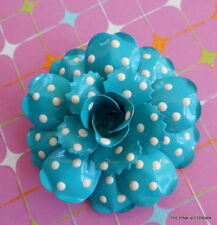 JOAN RIVERS BABY BLUE WHITE POLKA DOTTED METAL ENAMEL FLOWER PIN EXCELLENT COND.