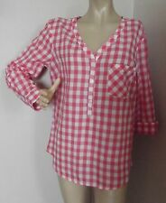 FADED GLORY LARGE (12-14) CORAL & WHITE CHECKERED POPOVER TOP shirt tunic L