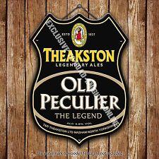 Theakston Old Peculier Beer Advertising Pub Metal Pump Badge Shield Steel Sign