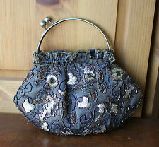 Sparkling Floral Beaded Sequin Ring Handle Clutch Brown Handbag Evening Purse
