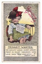 Valentine postcard Tenant Wanted cozy corner in my heart Valentine's Day 1921