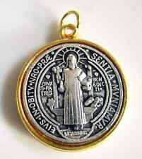 """GOLD & SILVER Catholic ST.BENEDICT Medal Necklace Rosary Pendant 1.5"""""""