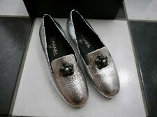 NIB 100% Auth Chanel 15B Camillia flower Sliver Crackled Leather Mocassins $925