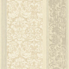 York Damask Stripe in Gray, Cream, Silver, Taupe & White  AB2188  FREE SHIPPING