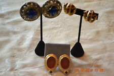 Lot of 3 Vintage Clip-On Gold  Plated Earrings - Circa 1940's & 1960's